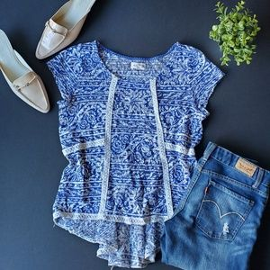🌼Anthropologie Blue Crochet Blouse